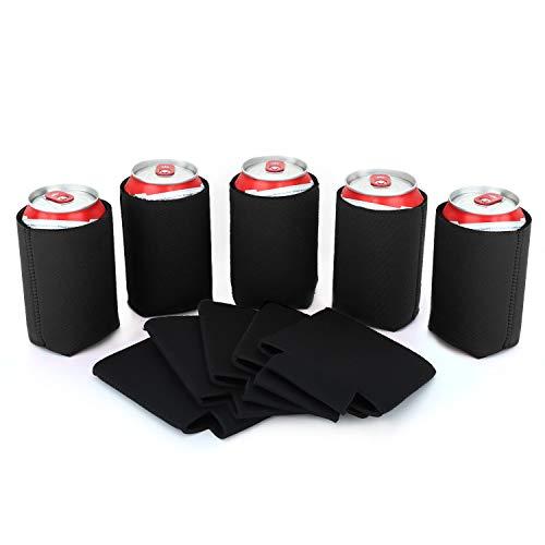 Nuovoware Dosenkühler, 10 Stück Neopren Zusammenklappbare Isolierte Flaschenkühler für Dosen Flaschen Bier Softdrink Faltbare Dosenhülle Cooler Sleeve für BBQ Partys - Schwarz