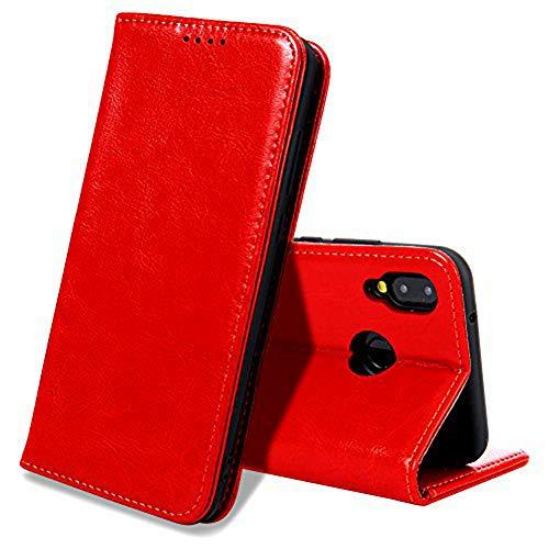 EATCYE Coque Huawei P20 Lite,Housse Huawei P20 Lite, Premium Étui [en Cuir Véritable] [Antichoc TPU] Cuir Housse à Rabat [Fermoir Magnétique] pour Huawei P20 Lite (Rouge)