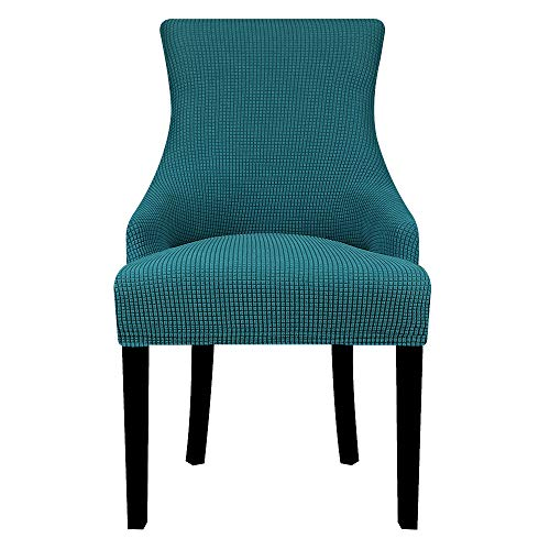 Lellen Jacquard Stretch Wingback Chair Cover Slipcover - Reusable Protector Cover for Dining Room Banquet Home Decor etc Machine Washable Hand Washable(Set of 2-Teal)