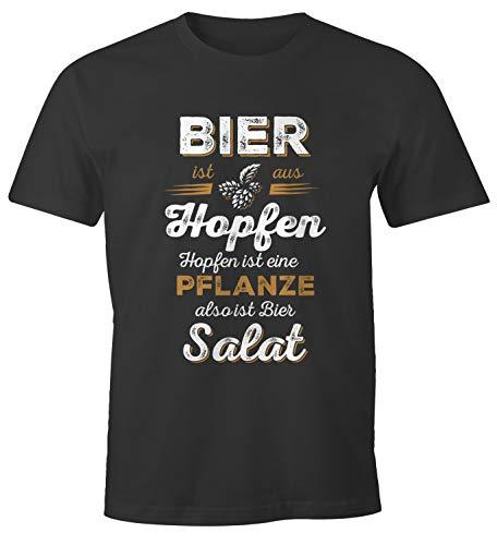 MoonWorks Herren T-Shirt Bier ist aus Hopfen, Hopfen ist eine Pflanze Also ist Bier Salat Fun-Shirt Spruch-Shirt anthrazit L