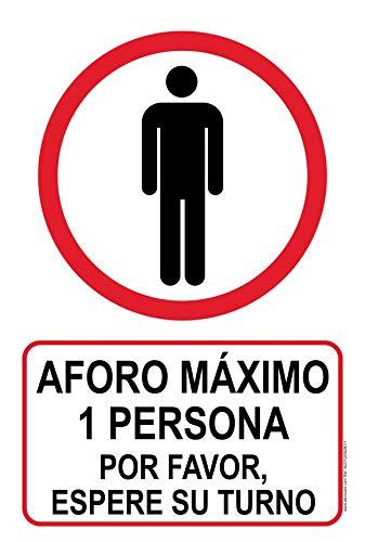 Cartel resistente PVC - AFORO MÁXIMO 1 PERSONA - Señaletica COVID 19 - Señaletica de aviso - ideal para colgar y advertir