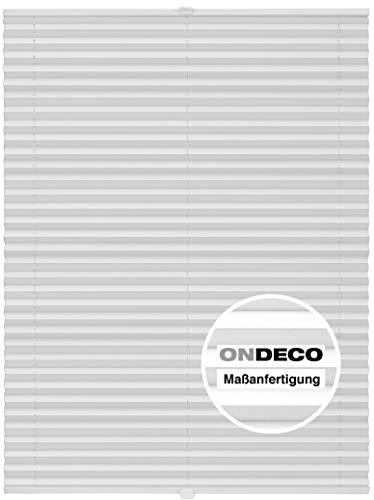 Plissee auf Maß Fenster Montage innen Klemmträger bis 27 mm Sonnenschutz Plisseerollo Blickdicht Dachfenster Verdunkelung Weiß B: 71-80 cm, H: 101-150 cm