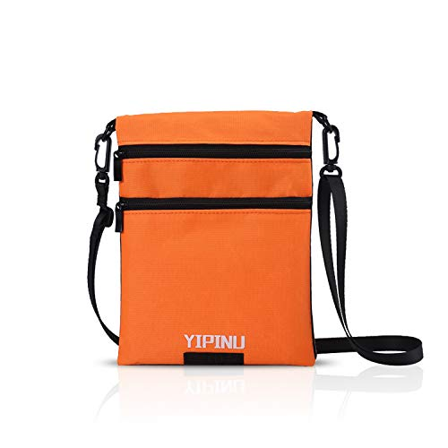 FANDARE パスポートケース 首下げ スキミング防止 防水 トラベルケース パスポート入れ 4-6インチ携帯に適用 旅行 首掛け 便利 貴重品入れ 軽量 オレンジ&黒