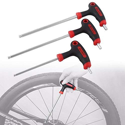 Tbest 1 Set Vélo Hex Clé Multi-Fonctionnel Vélo Outil De Réparation Vélo De Montagne Pédale Clé 4/5 / 6mm T-Manipulé Allen Clé