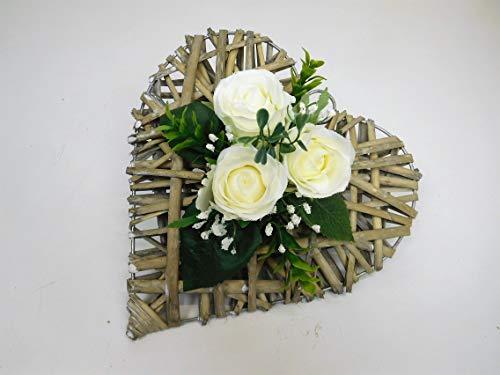 Ziegler Rattanherz Rosengesteck Rosenherz Tischgesteck Tischdeko Grabgesteck Grabschmuck Trauerschmuck Grabaufleger Blumengesteck Tischgesteck Herz 3 Rosen weiß (2)