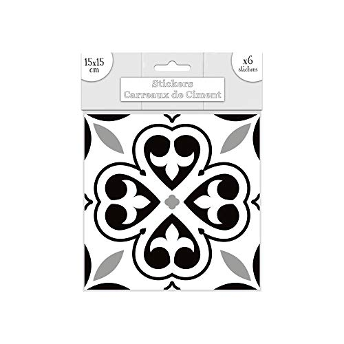 Lote de 6 pegatinas de azulejos – negro – 15 x 15 cm