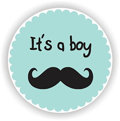 Philly Art & Crafts Baby Shower Stickers - It's a Boy Stickers - Favor Stickers - Baby Shower Favor Stickers - Mustache Favor Stickers - Set of 40 Stickers