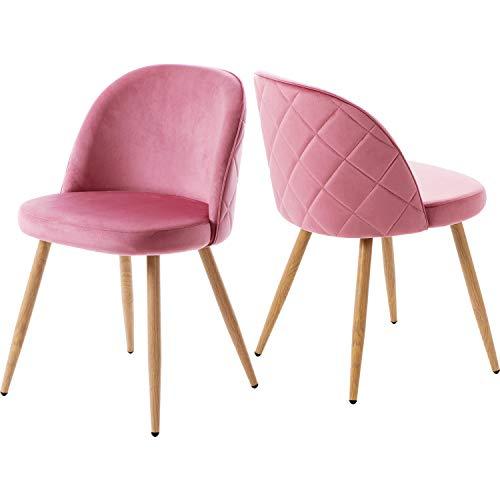 ModernLuxe 2er Set Esszimmerstühle Samt Vintager Retro Sessel Polstersessel Sitzkomfort Küchenstühle Lounge Sessel Clubsessel Fernsehsessel Sitzhöhe 37cm (Rosa)