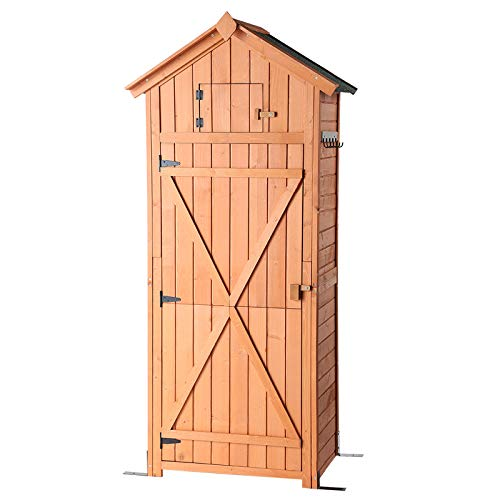 B BAIJIAWEI Garden Storage Shed - Garden Tool Storage Cabinet - Lockable Arrow Wooden Storage Sheds Organizer for Home, Yard, Outdoor