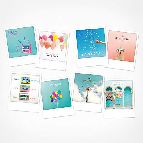 PICKMOTION Set mit 8 Foto-Post-Karten Grüße & Wünsche, Instagram-Fotografen-Geburtstag-Karten, handgemachte Grußkarten, lustige Sprüche & Motive, Tiere, Blumen, bunt, BPK-0117