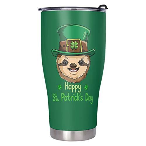 Faultier Happy St Patrick es Day - Taza de viaje con tapa a prueba de salpicaduras, doble pared, acero inoxidable, diseño 3D, tapa a prueba de fugas, mantiene caliente y blanco, 900 ml