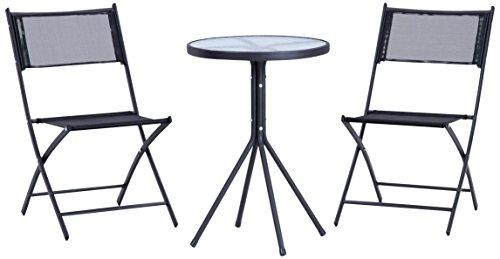 不二貿易 ベランダ3点セット テーブル×1 チェア×2 ブラック 94403
