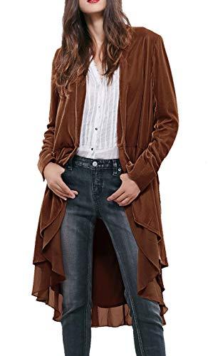 R.Vivimos Damen Samt Rüsche Mantel Slim-Fit Anzug Freizeitjacke Mode Klassisch Schwalbenschwanzsaum (Mittel, Braun)