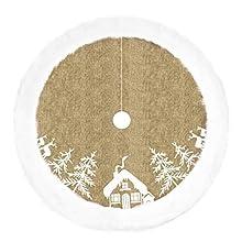 VORCOOL Alfombra para árbol de Navidad, falda para árbol de Navidad, accesorios para decoración de Navidad (beige)