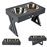 """Wisedog Raised Dog Bowls for Large Dogs Elevated Dog Bowl - Adjusts To 3 Heights,2.8"""", 7.5"""