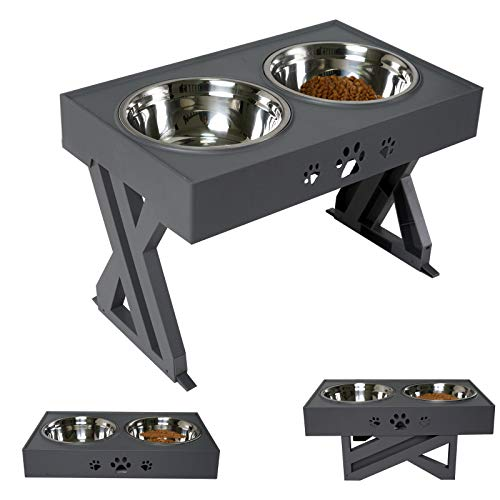 Wisedog Raised Dog Bowls for Large Dogs Elevated Dog Bowl - Adjusts To 3...