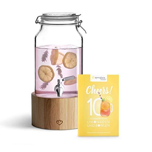 Glas Getränkespender 3,8 l Greta mit Edelstahl-Zapfhahn & Ständer aus Eichenholz, Limonaden-Spender, Vintage Design Mason Jar