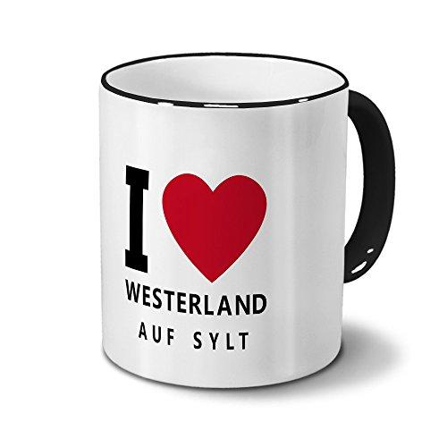 Städtetasse Westerland - auf Sylt - Design I Love Westerland - auf Sylt, Stadt-Tasse, City-Mug, Kaffeetasse - Becher Schwarz