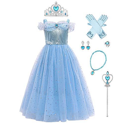 OBEEII Cinderella Kostüm Kinder Aschenputtel Prinzessin Kleid Mädchen Verkleidung Karneval Faschingskostüm Cosplay Party Halloween Festkleid 6-7 Jahre