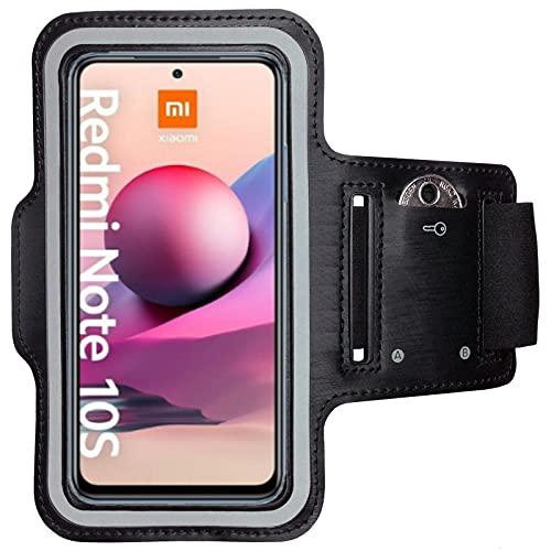 CoverKingz Sportarmband für Xiaomi Redmi Note 10 / 10s - Armtasche mit Schlüsselfach Redmi Note 10 / 10s - Sport Laufarmband Handy Armband Schwarz