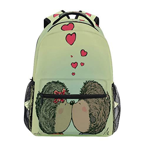 Corazón Beso Erizo Mochila para Niños Niñas Estudiantes Hombro Mochilas Portátil De Escolar Viaje