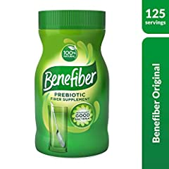 Benefiber original is a 100 percent natural daily prebiotic dietary fiber supplement and also taste free, gluten free and sugar free Unlike some other forms of fiber, Benefiber powder dissolves clear and can be added to your favorite foods and drinks...