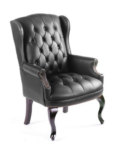 Boss Office Products Wingback Traditional Guest Chair in Black