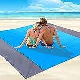 JIMACRO Manta de Playa Grande Esterilla de Playa Impermeable sin Arena 200 * 210cm Mantas de Picnic Ligeras con 4 Clavos Fijos para Viajes, Camping, Senderismo
