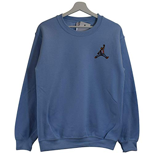 Actual Fact Biggie X Jordan Mikrofon Slam Dunk Hellblau Rundhals Hip Hop Groß Sweatshirt Top (Small-XXLarge) - Hellblau, XL