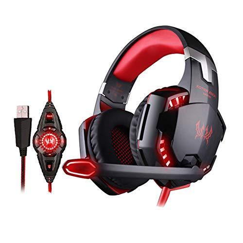 Headset Gaming Headset, Casque pour Sports électroniques avec Fil Vibrant, 7.1 canaux, Microphone à Suppression de Bruit pour PS4, Nintendo Switch, Xbox One, PC-Red