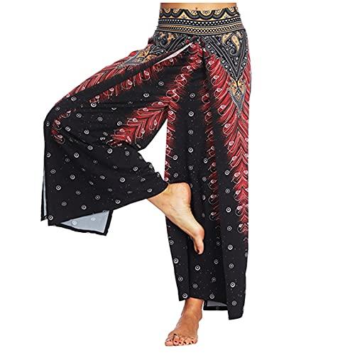 Semoatuc Pantalones de yoga para mujer, pantalones anchos, pantalones de verano, elegantes a rayas, pantalones de verano, pantalones de deporte, pantalones de jogging o playa Vino M
