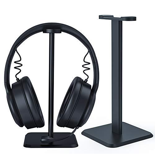 Skyee Soporte Auriculares en el Escritorio, Universal Headset Stand y Soporte de Cascos en Mesa con 2 Piezas Clips de Cable para Auriculares Bluetooth, Auriculares Gaming, Negro