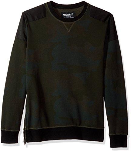 William Rast Herren Hal Crewneck Sweatshirt, Olive Night Camo, Mittel