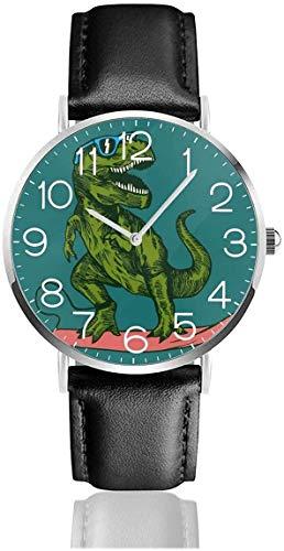 Reloj de cuarzo con diseño de dinosaurio, con correa de piel negra, para mujeres, hombres, niños y niñas