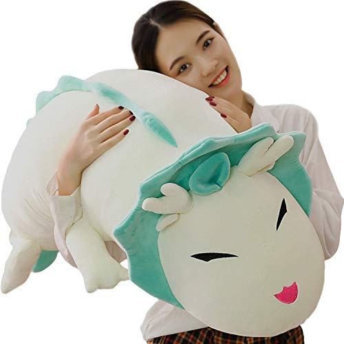 Giant Dragon Plush Long Soft Hugging Pillow, Anime Cute Stuffed White Dragon Plushie Neck Pillow Back Cushion Decor, 35.4/43.3/51.2Inch