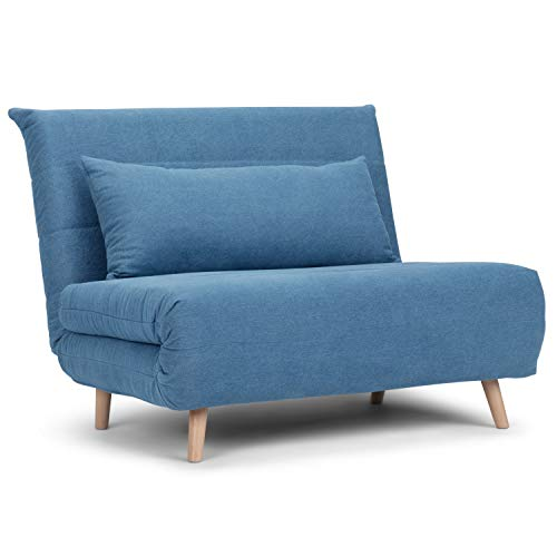 Simpli Home Asher Contemporary 42 inch Wide Sofa Bed in Denim Blue Linen Look Fabric