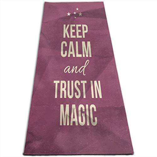 CONICIXI Esterilla Yoga Mantenga la calma y confíe en la cita mágica en la imagen de papel arrugado púrpura Colchonetas de ejercicio Pilates para entrenamiento en casa Gimnasio Fitness Meditación