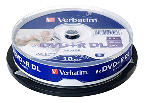 Verbatim 64308 8.5GB Blank Dual Layer DVD+R DL 8X Speed IJP Ink Jet Printable