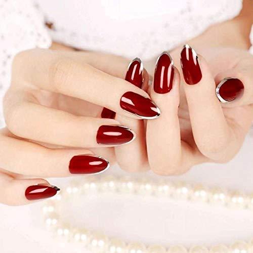 TJJL Falsche Nägel Diy 24Pcs Red False Nails Acryl Fake Nails Faux Metalldekoration S Künstliche Nagelspitzen mit Kleber Tn