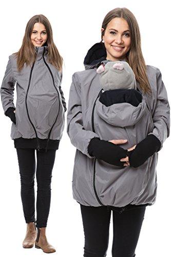 GoFuture Damen Tragejacke für Mama und Baby 4in1 Känguru Jacke Umstandsjacke aus Concordia Shell und Fleece LOVEWINGS GF2070XG in Anthrazit mit marineblauem Innenfutter