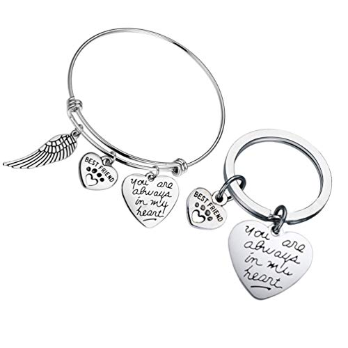 PRETYZOOM Pet Memorial Keychain Pérdida de Perro Gato Recuerdo Joyería Angel Wing Siempre Estás en Mi Corazón Llavero para Mujeres Hombres