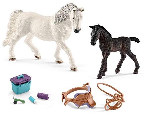4in1-SET Schleich Pferde Horse Club - Lipizzaner Stute mit Fohlen + Sattel Zaumzeug und Pflegeset 13819 + 13820 + 42165 + 42366