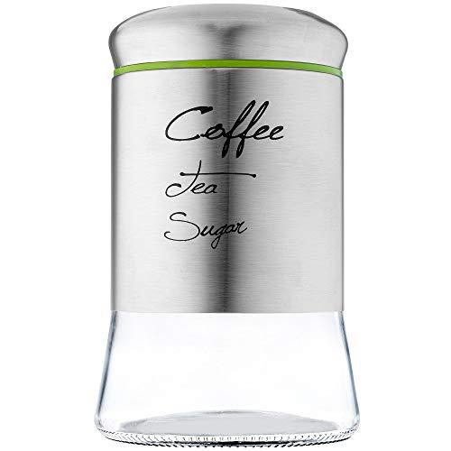 KADAX Vorratsglas mit Schraubverschluss, Kaffeedose aus Glas, Glasbehälter mit Deckel, Vorratsdose für Küche, Tee, Kaffee, Zucker, Kakao, Gewürze, Teedose, rund (1000 ml)