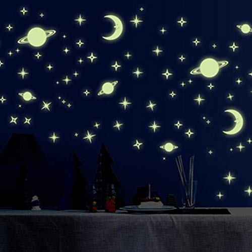 Luminoso Pegatinas de Pared DIY Universo Luna Estrellas Resplandor en la Oscuridad Pegatinas para Niños Habitación de Bebé Decoración Pegatinas Fluorescentes