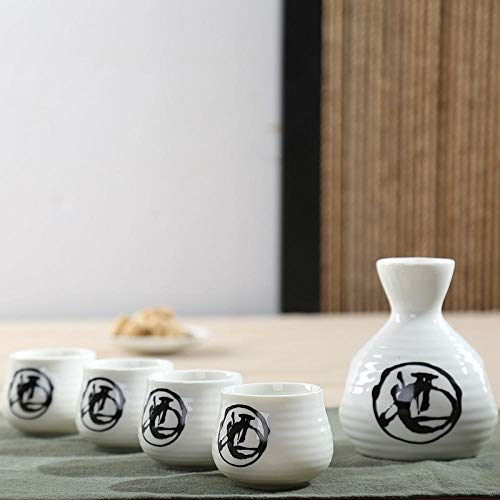 IKJN Conjunto De Sake Dispensador De Cerámica Juego De Dispensador De Taza De Sake De Vino Doméstico De Estilo Japonés (Licor 2)