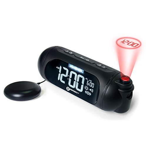 Geemarc Wake'n Shake Spot-Projektionswecker mit Vibrationskissen, starker Weckton 95dB, 180° Flip-Anzeige/90° Projektor und USB Anschluss für Aufladung Ihrer Smartphone, Schwarz, 18x6,8x6,6cm
