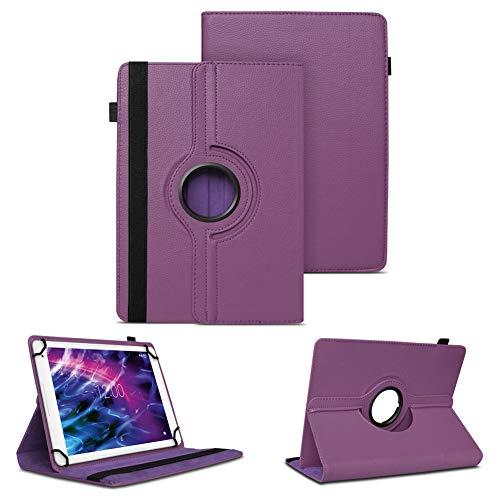 NAUC Tablet Schutzhülle für Medion Lifetab P10612 P10610 P10603 P10606 P10602 X10605 X10607 X10311 P9702 X10302 P10400 P10356 Hülle Tasche 360° Drehbar Case, Farben:Lila