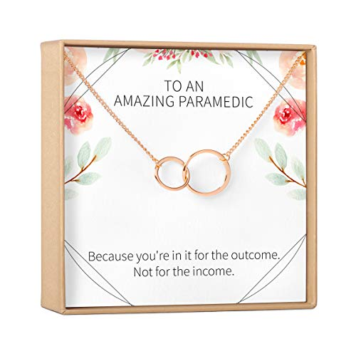 Paramedic / EMS Gift Necklace: Best Present, Gift Idea, Thank You, Appreciation, 2 Asymmetrical Circles (rose-gold-plated-brass, NA)