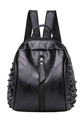 qwerasdf fashion ladies backpack, splicing shell shoulder bag, female bag, handbag (black, 23*15*27cm)