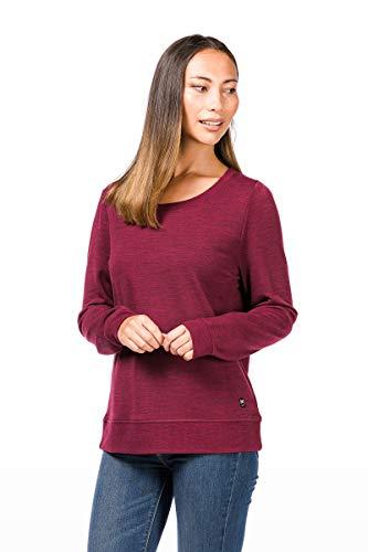 super.natural Bequemer Damen Pullover, Mit Merinowolle, W ESSENTIAL CREW NECK, Größe: M, Farbe: Dunkelrot